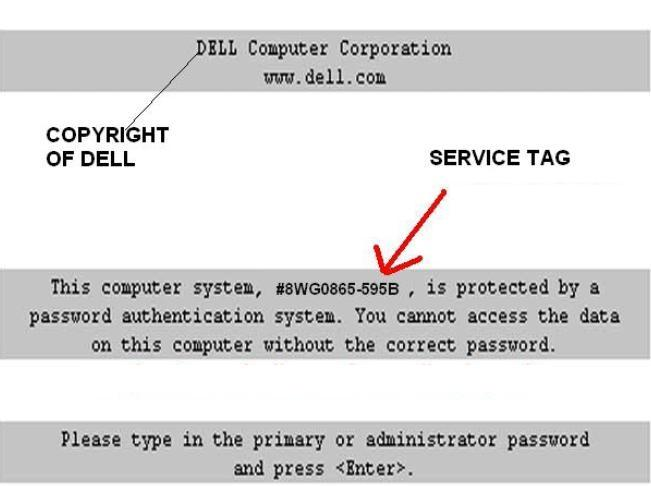 Dell 595B primary or administrator password