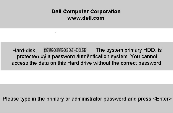 Dell D35B HDD password